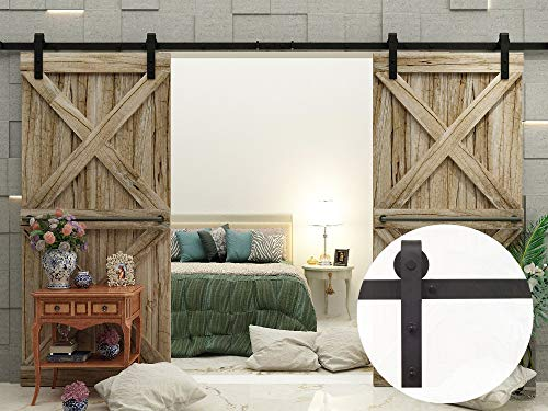 VANCLEEF 5-16FT Antique Double Barn Wood Door Hardware Track Rail Kit, Classic Design Roller, Black Rustic, for Bathroom, Bedroom, Closet, Interior and Exterior Use (8FT Double Door Kit)