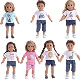 dhje-chen American Girl Doll Clothes Accessories Wardrobe Makeover Casual Everyday Outfit Set Fits 18 inches Doll Clothes T-Shirt Set