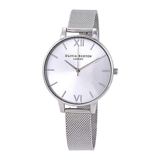 Olivia Burton OB16BD104 - Reloj de Pulsera para Mujer, Esfera de Plata Grande, Malla de Acero Inoxidable: Amazon.es: Relojes