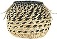 Bloomingville Handwoven Natural Water Hyacinth Braided Fringe Basket, Black