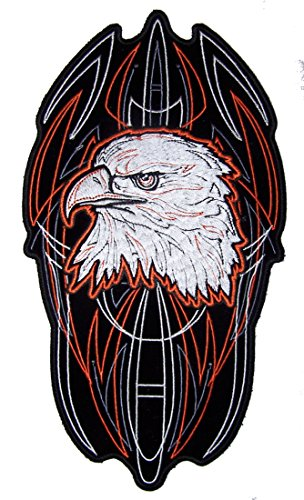 Jumbo 10 Inch PINSTRIPE EAGLE HEAD biker Patch -Iron on or Sew on Embroidered Jacket Patch