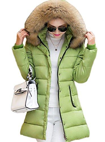 Bigood Femme Manteau Hiver Jacket Doudoune Chaud Parka Veste Longue Avec Capot Slim Blouson Manches Longue Vert