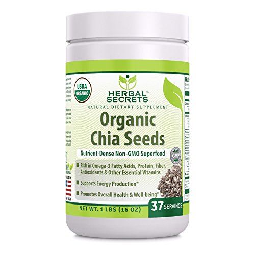 Herbal Secrets USDA Certified Organic Chia Seeds 1 Lb (Non-GMO) -Antioxidant Properties -Supports Energy Production -Promotes Overall Health & Well-Being* (1 Lb)