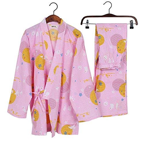 女性の和風ロングスリーブローブコットン着物パジャマスーツ着こなしセットピンク