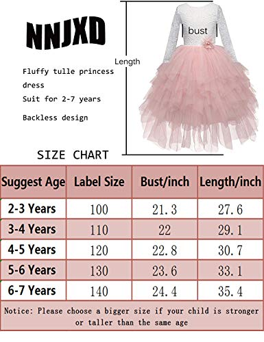NNJXD Backless Lace Back Tutu Tulle Princess Party Dress Flower Girls Dresses Size (120) 4-5 Years Pink by NNJXD (Image #6)