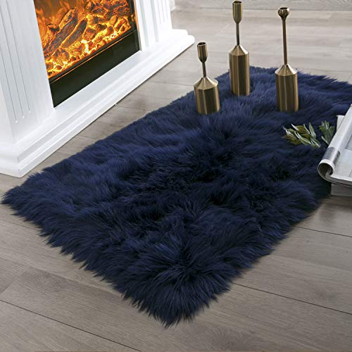(Ashler Faux Fur Navy Blue Rectangle Area Rug Indoor Ultra Soft Fluffy Bedroom Floor Sofa Living Room 2 x 3 Feet)