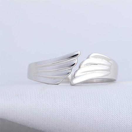 Taille réglable Bague ailes d/'ange argenté