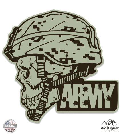 Army Vinyl Sticker - Army Helmet Skull Military - 5