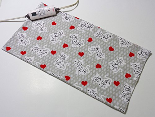"Replacement Cover for 12"" x 24"" Heating Pad ~ Heating Pad Cover ~ Cover Only ~ Crazy Cat Lady Print by Practical Things I Love"