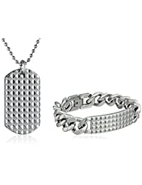 Cold Steel Stainless Steel Textured Men's Id Bracelet and Dog Tag Set