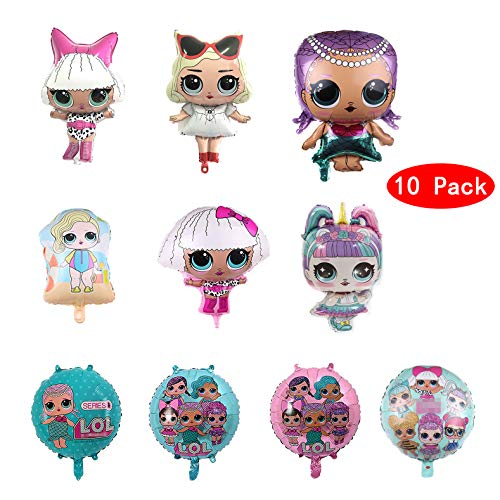 10 Pcs LOL Party's Helium Balloons for Children Birthday Doll Balloons Decorations For Children's Party Supplies ()