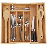 Cutlery Tray with 7 Compartments,Used for Drawer Organizer and Divider,Perfect Bamboo Holder for Utensils,Flatware,Silverware by Artmeer (bamboo)