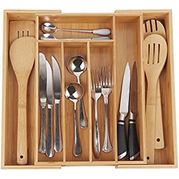 Utensil Tray For Flatware Organizer With 7 Compartments Durable And  Expandable Made Of Organic Bamboo Nice