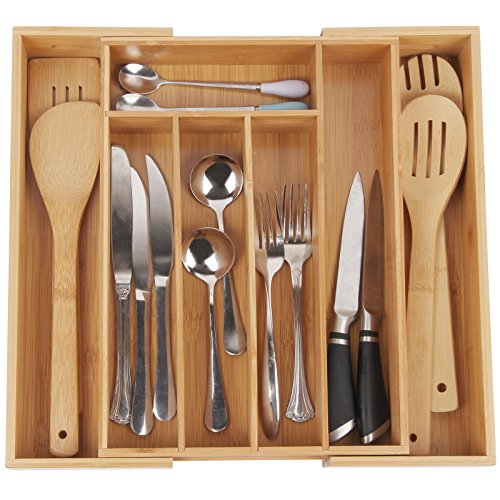 Utensil Tray for Flatware Organizer with 7 Compartments Durable and Expandable Made of Organic Bamboo Nice Drawer Organizer Holder By (Plastic Draw Divider)