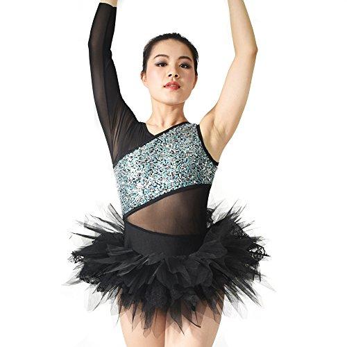 Ballet Swan Costumes Lake (MiDee Dancewear Women Swan Lake Ballet Costumes Mesh One-Sleeve Leotard With Laced-Tutu Skirt (MC,)