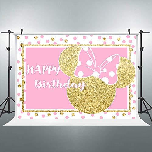 nk Mouse Backdrop Kids Happy Birthday Photography Background Gold Princess 7x5ft Decoration Background Photo Studio Celebration Party Prop Photoshoot Photo Booth Vinyl Cloth ()