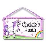 Unicorn and Rainbow Personalised Kids Door Sign