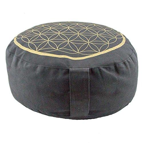 Black Meditation Cushion Zafu with Gold Flower of Life Design (Round)