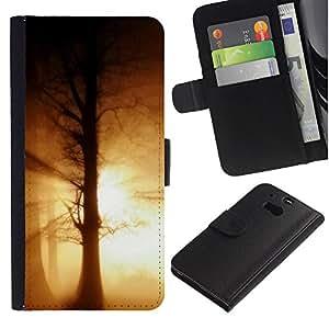Ihec-Tech / Flip PU Cuero Cover Case para HTC One M8 - Nature Beautiful Forrest Green 188