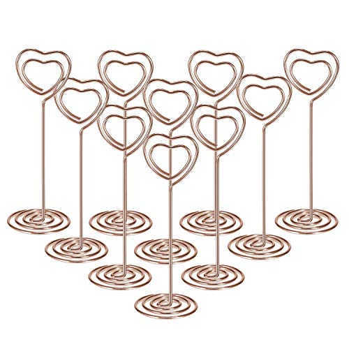10 PCS Double Heart Shape Table Number Pictures Memo Holder Stands Place Card Paper Menu Clips for Desk Weddings Party Table Number Card Holders Photo Holder Stand Place Card Paper Menu Clips Holders
