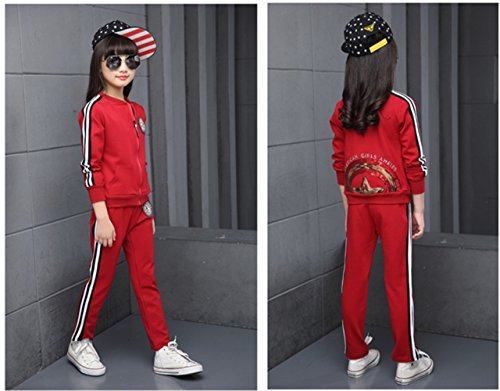 FTSUCQ Girls Zip Front Sports Tracksuits Striped Shirt Jacket Coat + Pants,Red 140 by FTSUCQ (Image #2)