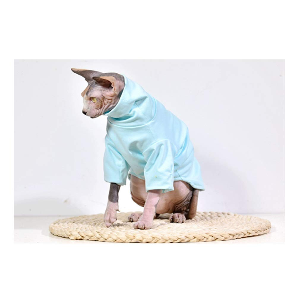 blueE M+ SHIRT LENGTH 32CM CHEST 42CM blueE M+ SHIRT LENGTH 32CM CHEST 42CM DENTRUN Hairless Cats Shirt Cat Wear Turtleneck Cat Designer Warm Clothes, Sweater Best for Hairless Cat's New PHijama Clothes Cat's Pajamas Jumpsuit Cat