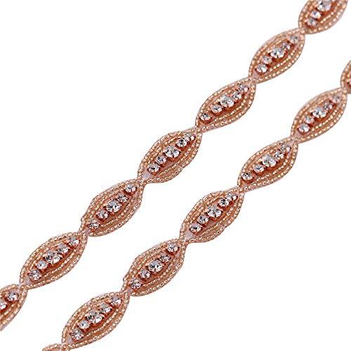 Sparkly Rose Gold Rhinestone Applique Diamante Wedding Trim - 1 Yard for Wedding Dress Headband Bridal Bracelet