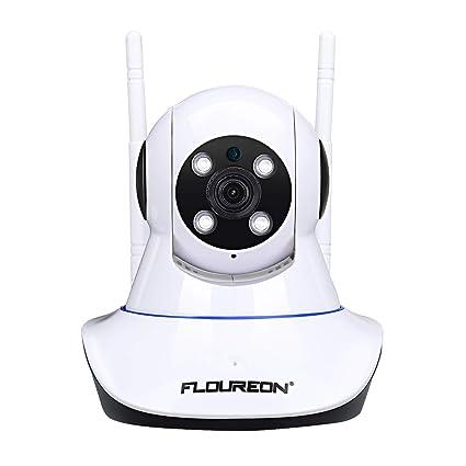 FLOUREON Cámara IP inalámbrica, cámara WiFi de vigilancia de Seguridad Interior 1080P con Ranura para Tarjeta SD, detección de Movimiento, visión ...