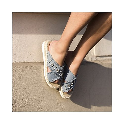 Ideal Shoes, Damen Zehentrenner Blau