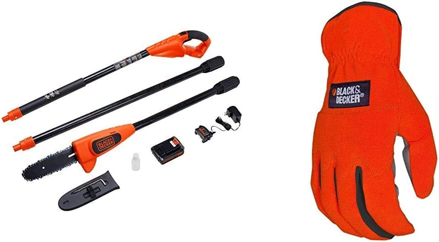 BLACK+DECKER 20V MAX Pole Saw, 8-Inch with Easy-Fit All Purpose Glove (LPP120 & BD505L)