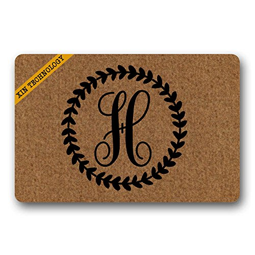 (Artsbaba Personalized Monogrammed Doormat Leaves Ring Monogram Letter Non-Slip Doormat Non-Woven Fabric Floor Mat Indoor Entrance Rug Decor Mat 23.6