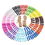 ESFUN 180 Pieces Bright Colored Wooden Clothespins - Mini Clothes Pegs Crafts Clips Natural Wooden Clothes Pins for Photo Pictures Paper Dispplay with Jute Twine