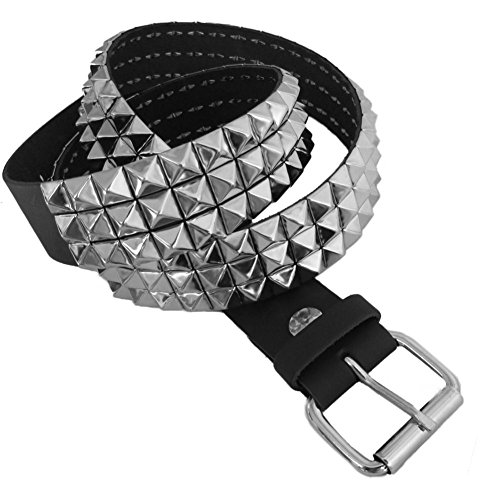 Leather 3 Pyramid Studded Belt - 3