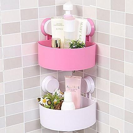 HOMESTER - 2 Pc Triangle Shower Corner Caddy Basket Plastic Inter ...