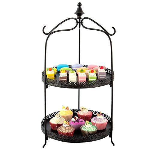 2 Tier Pie & Cake Round Serving Display Stand / Black Metal Jewelry Organizer Rack with 3 Hooks - (2 Tier Cakes)