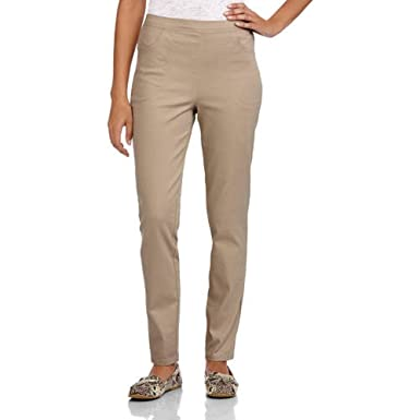 6211451386b81 White Stag Women's Flat Front Back Elastic Stretch Denim Pants (Regular &  Petite) (