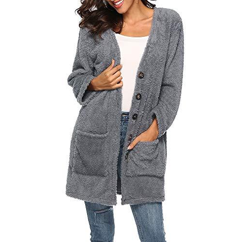 Women's Open Front Fleece Jacket,Sunyastor Winter Warm Cardigan Fluffy Woolen Coat Fashion Outwear with Pocket Gray