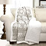 Lush Decor Elephant parade Throw Soft Sherpa, 60'' x 50'', Grey/Blue