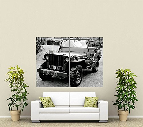 MILITARY ARMY JEEP VEHICLE TRANSPORT BLACK WHITE GIANT ART P