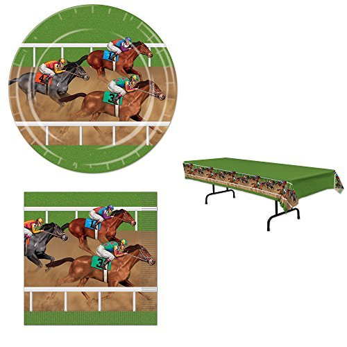 Horse Racing Derby Party Bundle for 16: Plates, Napkins, and Tablecover -