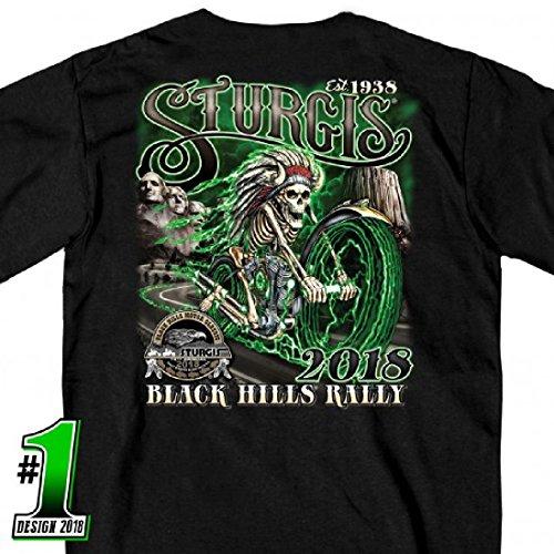 2018 Sturgis Motorcycle Rally #1 Design Skeleton Chief Black T-Shirt ()