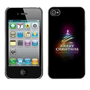Cubierta de la caja de protección la piel dura para el Apple iPhone 4 / 4S - Christmas black neon lights tree
