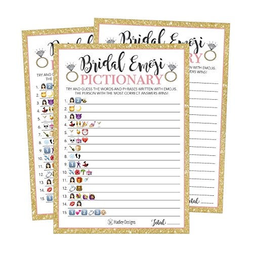 25 Emoji Pictionary Bridal Shower Games Ideas, Wedding Shower, Bachelorette or Engagement Party For Men and Women Couples, Cute Funny Board Kit Bundle Set, Coed Adult Game Cards For Bride to be Party -