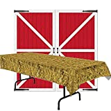 Barn Door Props Party Accessory and Straw Tablecover Bundle | Great for Cowboy Western Theme Party