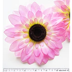"(2) Silk Pink Big Sunflowers sun Flower Heads , Gerber Daisies - 5.5"" - Artificial Flowers Heads Fabric Floral Supplies Wholesale Lot for Wedding Flowers Accessories Make Bridal Hair Clips Headbands Dress 23"