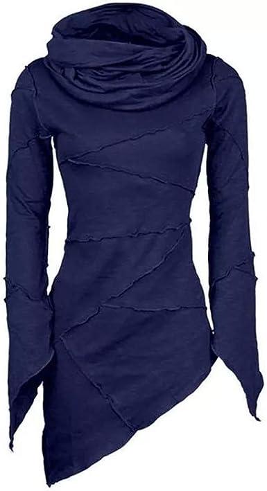Camiseta Asimétrico Cuello Alto Mujer Jersey Sudadera Lisas Invierno Manga Larga Tops Casual otoñales Blusa Talla Grande: Amazon.es: Ropa y accesorios