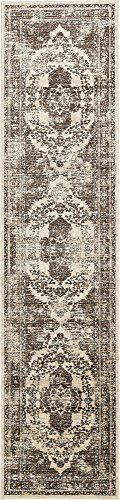 Unique Loom Oslo Collection Distressed Vintage Traditional Beige Runner Rug (3' x 13')