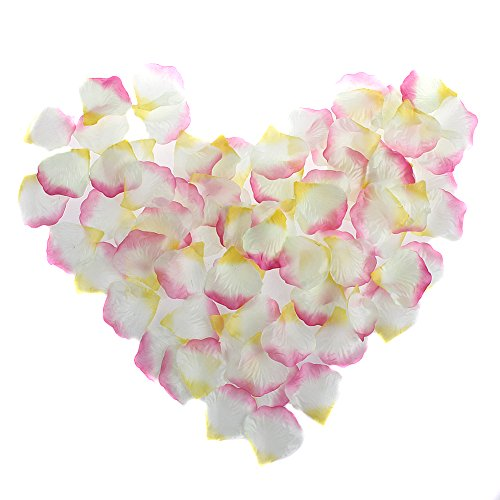 Nsstar Silk Rose Petals Wedding Events and Confetti Bridal Party Flower Girl Decoration (White+Pink+Yellow, 2000pcs)