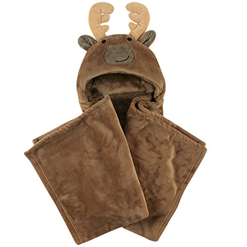 Hudson Baby Plush Blanket with Hood, Moose