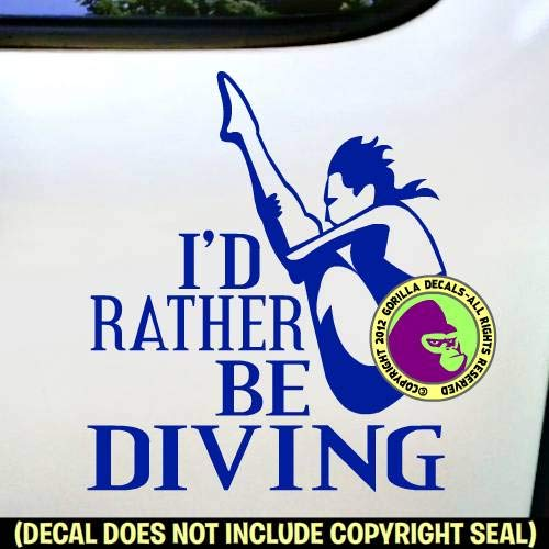 RATHER BE DIVING Springboard Diver FEMALE Vinyl Decal Sticker A